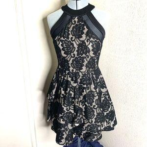 Windsor Floral Lace Sheer Formal High Neck Dress